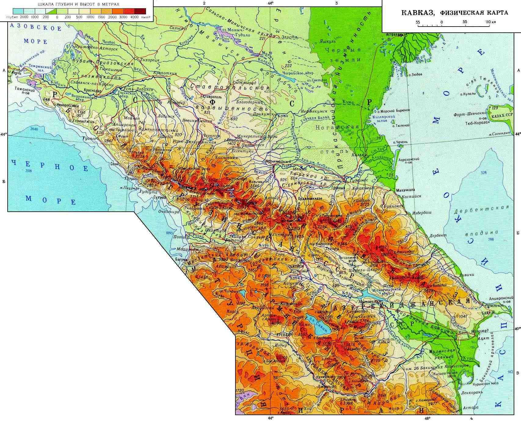 Где находится кавказские горы карта